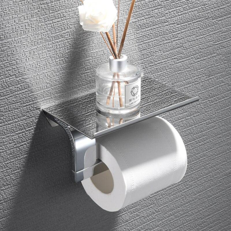 Bathroom stainless steel flat roll holder toilet paper towel holder paper towel hook mobile phone rack bathroom hardware pen